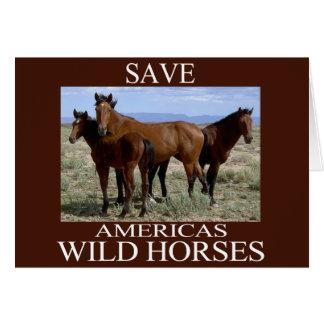 Ahorre los caballos salvajes tarjeta de felicitación