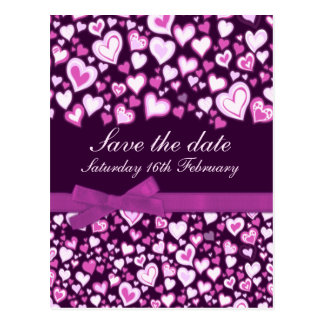 Ahorre los corazones de la fecha y la tarjeta púrp tarjeta postal