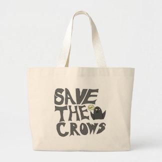 Ahorre los cuervos bolsa tela grande