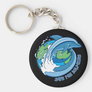 Ahorre los delfínes llavero redondo tipo pin
