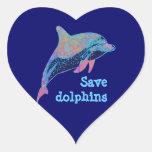 ahorre los delfínes pegatina de corazón