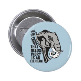 Ahorre los elefantes pin redondo de 2 pulgadas