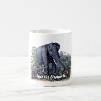 Ahorre los elefantes taza clásica