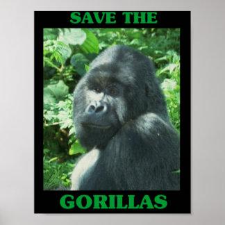 Ahorre los gorilas póster