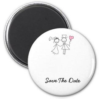 Ahorre los imanes del boda de la fecha imán redondo 5 cm