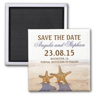 ahorre los imanes del boda de playa de la fecha imán cuadrado