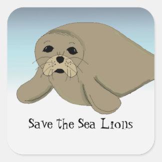 Ahorre los leones marinos pegatina cuadrada