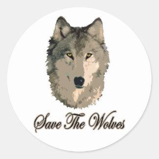 Ahorre los lobos pegatina redonda