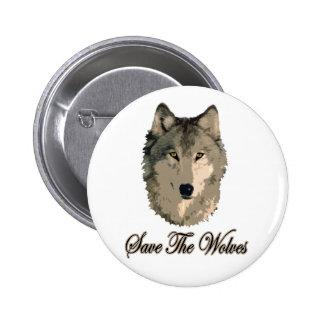 Ahorre los lobos pin redondo 5 cm