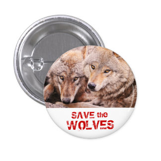Ahorre los lobos pin redondo de 1 pulgada