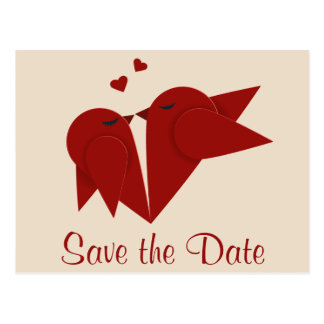 Ahorre los Lovebirds rojos de la fecha que casan Postales