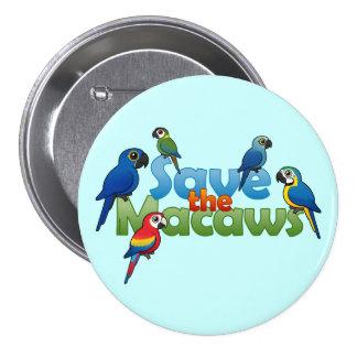 Ahorre los Macaws Pin Redondo De 3 Pulgadas