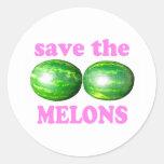 ahorre los melones en blanco con rosa etiqueta redonda