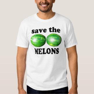 ahorre los melones en blanco playeras