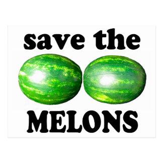 ahorre los melones en blanco postal