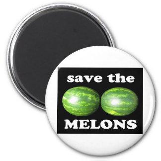 ahorre los melones en negro imán redondo 5 cm
