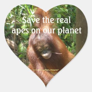 Ahorre los monos del planeta real pegatina de corazon personalizadas