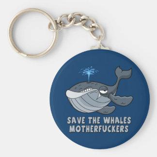 Ahorre los motherfuckers de las ballenas llaveros personalizados