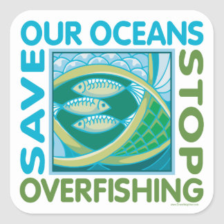 Ahorre los océanos calcomanía cuadradas personalizada