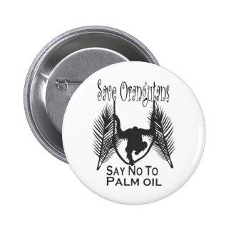 Ahorre los orangutanes dicen no al botón del aceit pin redondo de 2 pulgadas