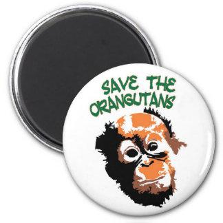 Ahorre los orangutanes iman de frigorífico