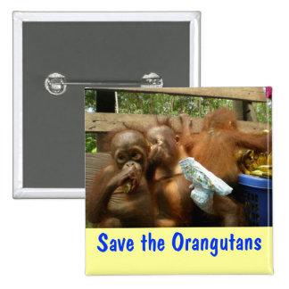 Ahorre los orangutanes pin cuadrado