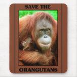 Ahorre los orangutanes tapete de ratón