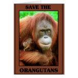 Ahorre los orangutanes tarjetón