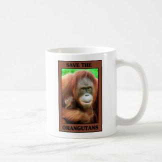 Ahorre los orangutanes taza básica blanca