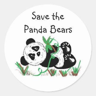 Ahorre los osos de panda pegatinas redondas