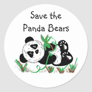 Ahorre los osos de panda pegatina redonda