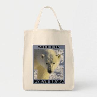 Ahorre los osos polares bolsa tela para la compra