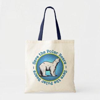 Ahorre los osos polares bolsa lienzo