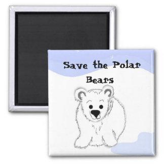 Ahorre los osos polares imán para frigorifico