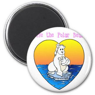 Ahorre los osos polares imán redondo 5 cm
