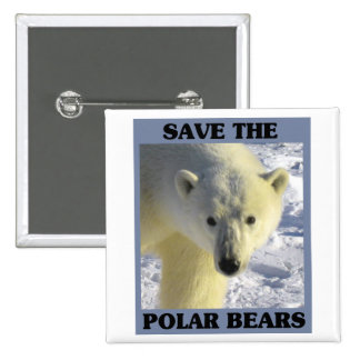 Ahorre los osos polares pin cuadrado