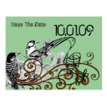 Ahorre los pájaros del amor del vintage de la fech tarjetas postales
