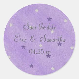 Ahorre los pegatinas de la fecha, la púrpura y las pegatina redonda