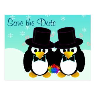Ahorre los pingüinos del boda de la fecha tarjetas postales