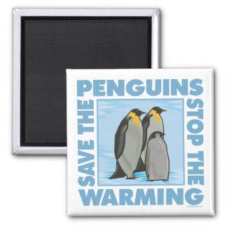 Ahorre los pingüinos imán cuadrado