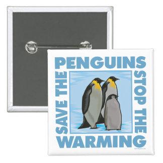 Ahorre los pingüinos pin cuadrada 5 cm