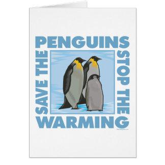 Ahorre los pingüinos tarjeta de felicitación