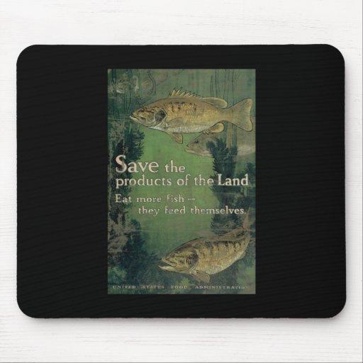 Ahorre los productos de la tierra comen más pescad tapetes de raton