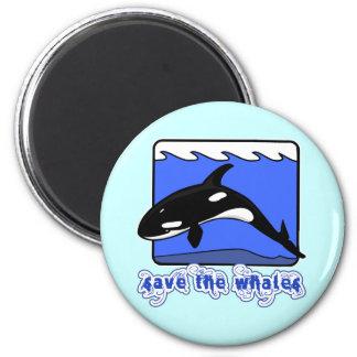 Ahorre los productos de las orcas de las ballenas imán redondo 5 cm