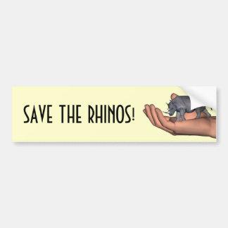 ¡Ahorre los Rhinos! Pegatina De Parachoque