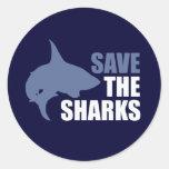 Ahorre los tiburones, ahorre las aletas etiqueta redonda