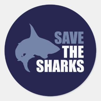 Ahorre los tiburones, ahorre las aletas pegatina redonda
