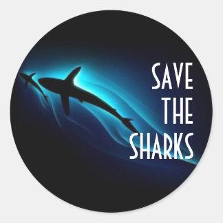 Ahorre los tiburones pegatina redonda