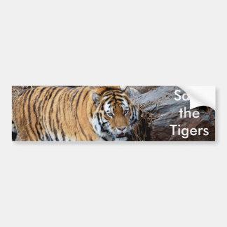 Ahorre los tigres etiqueta de parachoque
