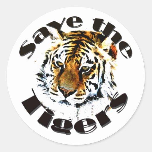 Ahorre los tigres pegatina redonda